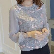 Женская рубашка с длинным рукавом, женская новая Цветочная вышивка, о-образный вырез, шифоновые блузки с кружевом, блуза, Женская Повседневная рубашка, топы DF2289