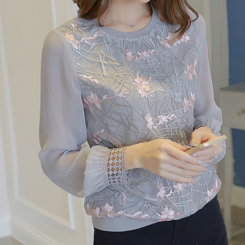 Women Long Sleeve Shirt Women New Floral Embroidery O Neck Lace Chiffon Blouses Blusa Ladies Casual Shirt Tops DF2289