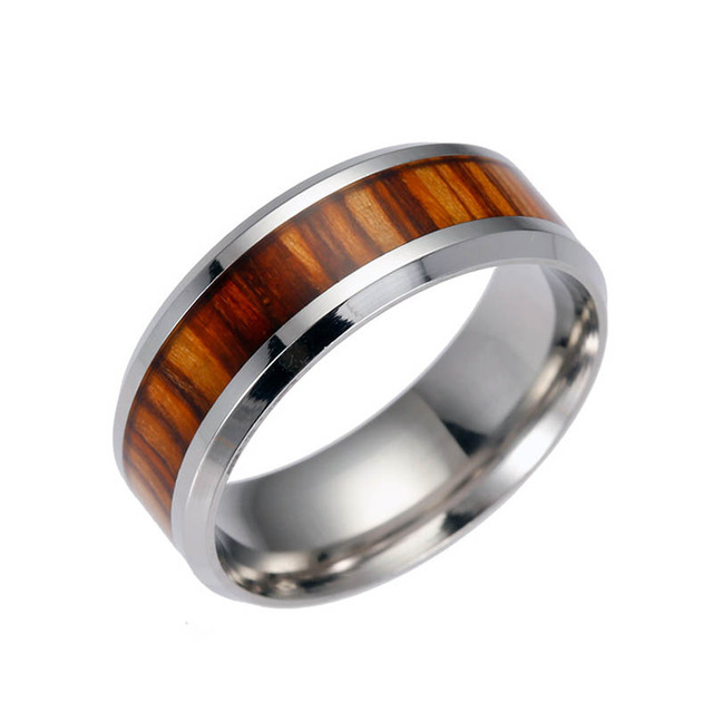 Men Rings Delicate Wood Inlay Titanium Steel Silver Ring Men Luxury Engagement W