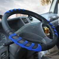 Kkysyelva 가죽 스티어링 휠 커버 자동차 버스 트럭 36 38 40 42 45 47 50 cm 직경 자동 스티어링 휠 커버