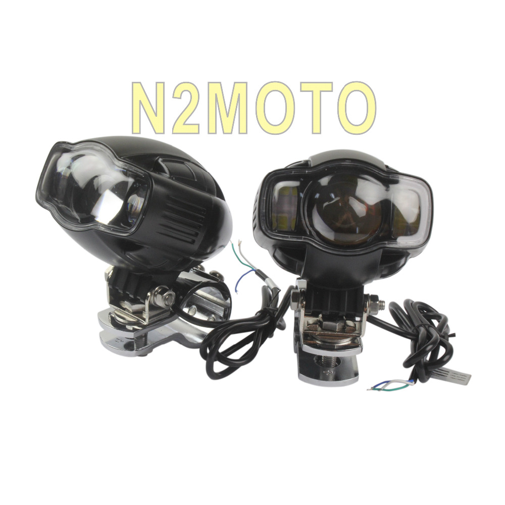 Motorcycles 20W LED Headlight with Crash Bar Clamp Bracket 1 1 2 1 1 4 1