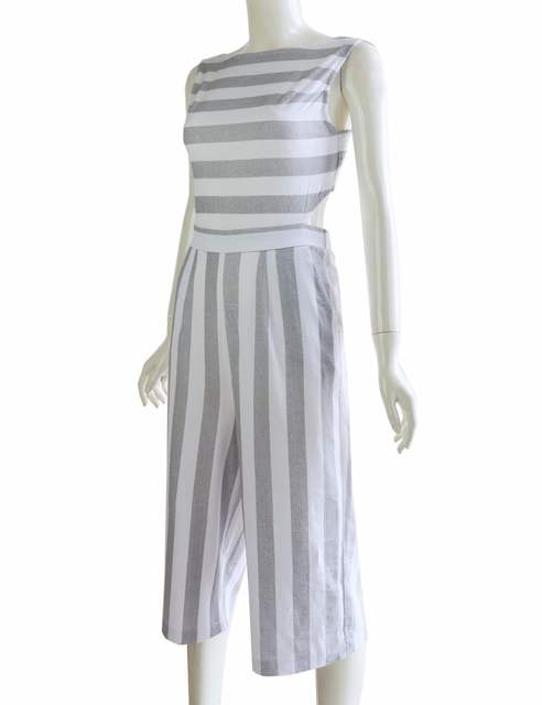 c1f69f943a Striped jumpsuit Rompers 2017 Women Linen cotton overalls Ladies casual  loose calf length wide leg pants