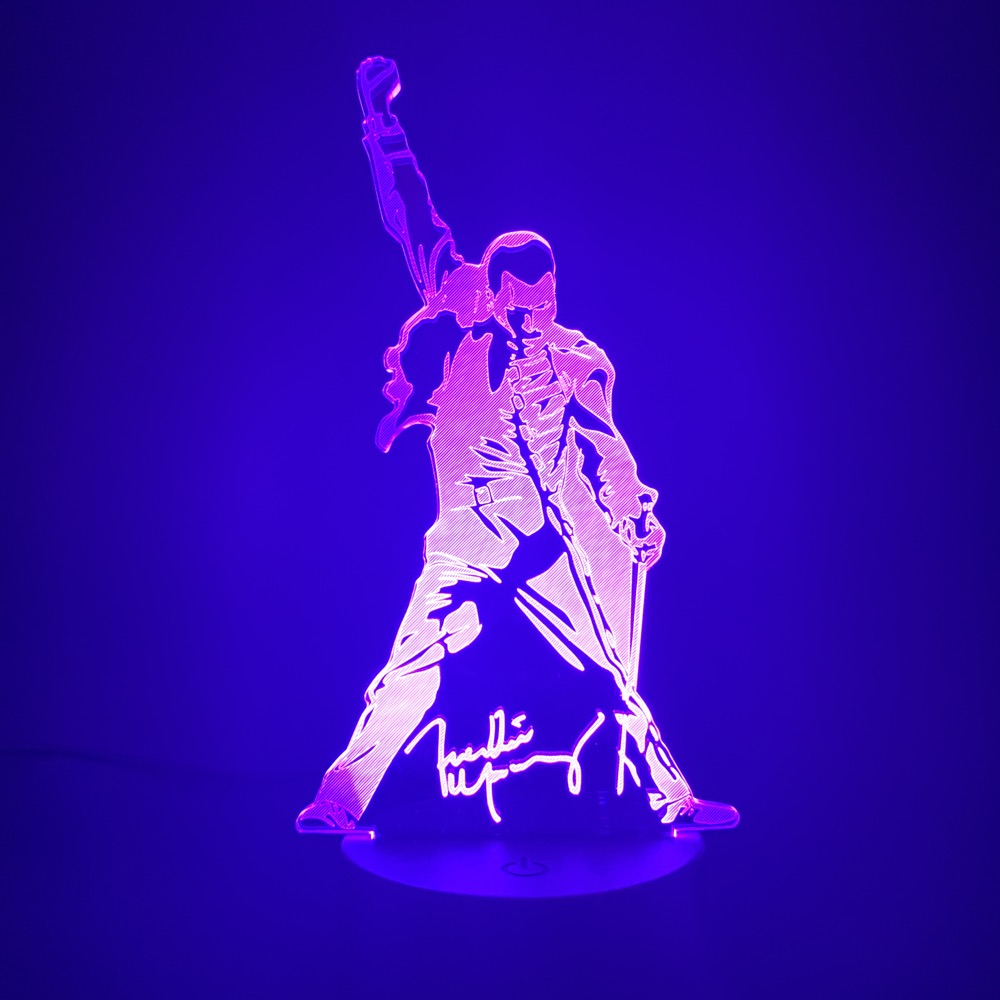 3d Led Night Light Queen Freddie Mercury Figure Color Changing Child Baby Nightlight For Office Room Decoration Lamp 3d Gift