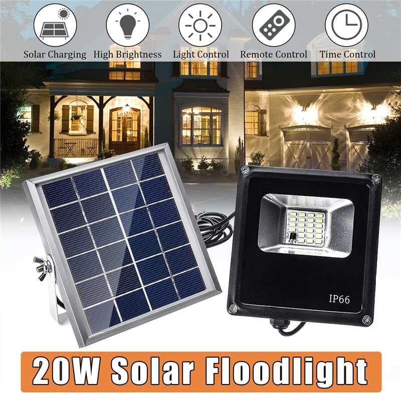 20 LED 20W Solar Light Outdoor Timing and Remote Control Solar Flood Light Garden Garage Wall Lamp Waterproof IP65 SMD563020 LED 20W Solar Light Outdoor Timing and Remote Control Solar Flood Light Garden Garage Wall Lamp Waterproof IP65 SMD5630