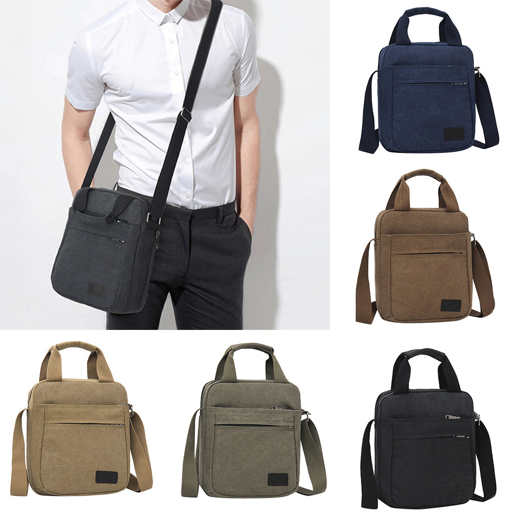 Briefcase Men Men's Fashion Canvas Solid Color Totes Business Shoulder Bag Messenger Bags