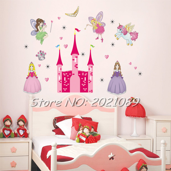 6090cm timelive brand princess cute angel fairys pink castle pony wall sticker decal