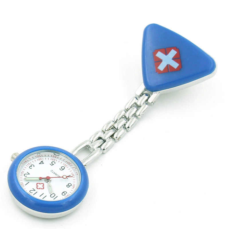 Protable Nurse Watches With Clip Red Cross Brooch Pendant Pocket Hanging Doctor Nurses Medical Quartz Watch KS-shipping