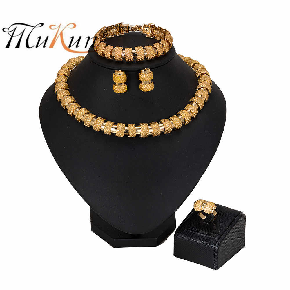 MUKUN Dubai Gold Color Saudi Jewelry Sets Nigerian Wedding African Beads Jewelry Set Wholesale Bracelet Earring Ring Jewelry Set