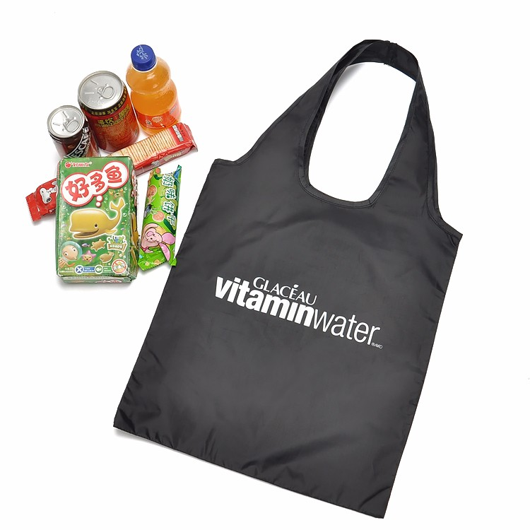 Custom Reusable Bags Nylon Black Grocery Totes Promotional Shopping Bags 9