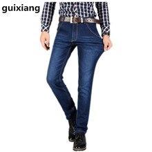 2017 весна мужская досуг бизнес 100% хлопок джинсы Человек прямой сломанной отверстие джинсы высокого качества джинсы для мужчин размер 28-42