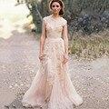 2015 venta caliente Vintage De encaje una línea Vestidos Custom Cap mangas Vestidos novia De playa tren del barrido V cuello Vestidos De Noiva