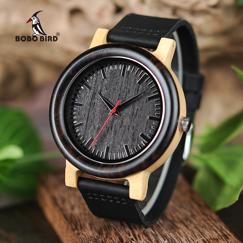 лучшая цена BOBO BIRD M13M14 Wenge Wood Bamboo Watches for Men Simple Design Quartz Wristwatch in Wooden Gift Box