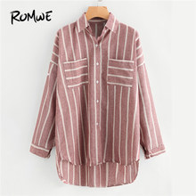 8c087a9830 ROMWE Stripe Red Hi-Lo Shirt Chest Pocket Button Up Blouse Women Dip Hem  Casual Tops Fall 2019 Fashion Long Sleeve Lapel Blouse
