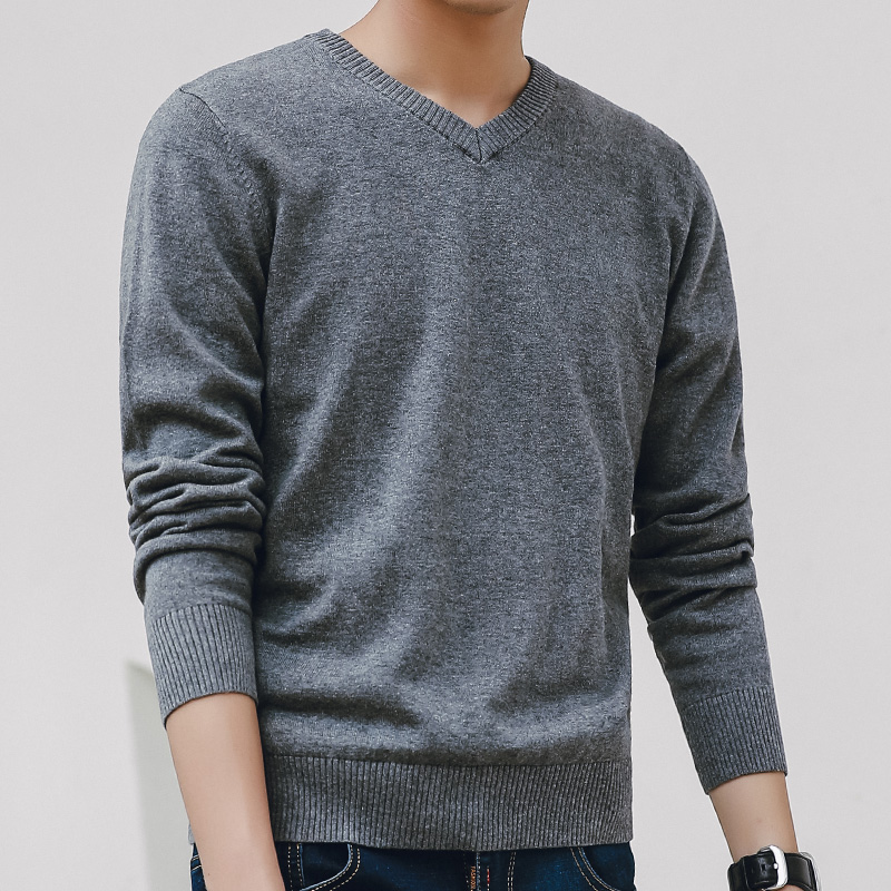 Sweater Men 2019 Autumn Casual Pullovers Men V-Neck Solid Cotton Knitted Brand Clothing Slim Fit Male Sweaters Pull Homme(China)