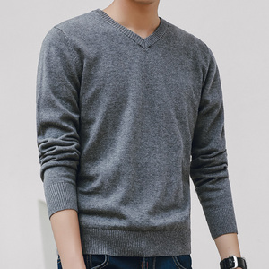Sweater Men 2019 Autumn Casual Pullovers Men V-Neck Solid Co