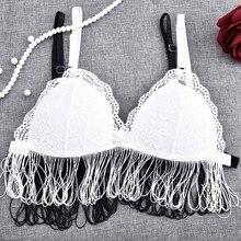 42b95967813d2 2018 Fashion Women Bras Lace Long Line Bralette Sheer Mesh Wireless Cups  Bra Triangle Without Lining Bralet Crop Top Underwear