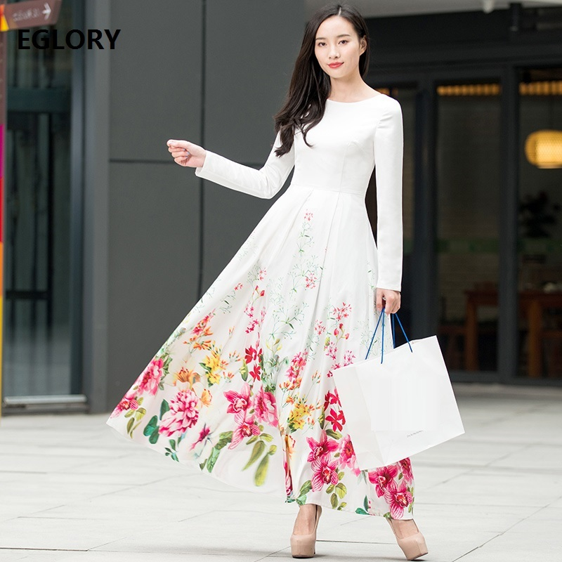 Long Sleeve Maxi Dress New Style 2018 Spring Women Sweet Rainbow Color Floral Print Whit ...