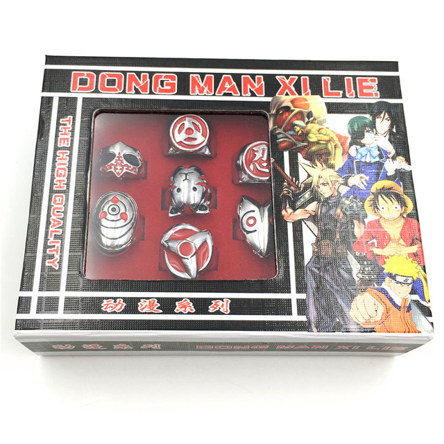 Naruto Vintage Alloy Rings 10pcs Set With Box
