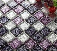 Фиолетовый серебряная фольга хрусталя ремесло мозаичной плиткой Кухня щитка, Для ванной душ стены ТВ камин фон искусства плитки, lsjb05