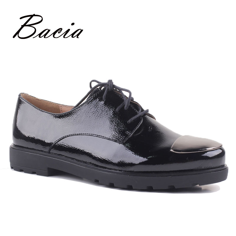 Bacia Metal Toe Women Genuine Leather Flats Solid Black Lace-up Shoes Patent Leather Flats Vintage British Style Shoes VD019 beffery 2018 spring patent leather shoes women flats round toe casual shoes vintage british style flats platform shoes for women