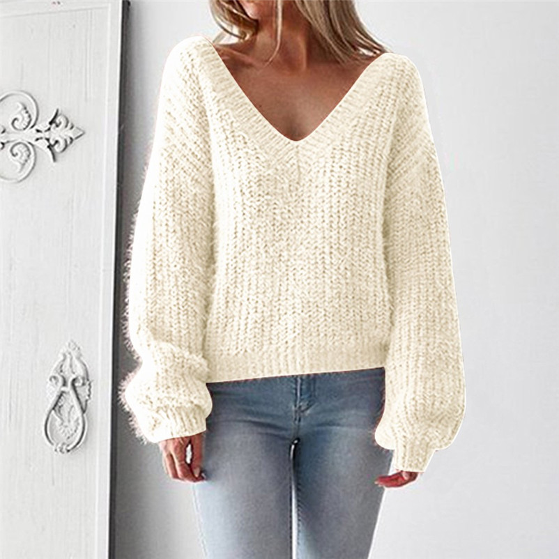 Fashion sweater women winter 2020 Sexy V-Neck Sweater Casual Leak Back Knitted Loose Long Sleeve female Pullover O24#NTCC