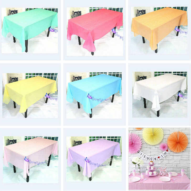 Useful PEVA Disposable Tablecloth Solid Color Wedding Birthday Party Table Cover Tablecloth Rectangle Desk Cloth Wipe Covers