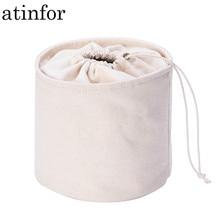 2be966461d166 Atinfor العلامة التجارية بيئة القطن قماش دلو الأصلي الرباط ماكياج تخزين  حقائب منظم حقيبة مستحضرات التجميل