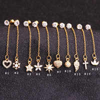 Sellsets 1 шт. золотой цвет качающаяся длинная цепь различные CZ болтаются из нержавеющей стали Daith Tragus Rook пирсинг серьги штекер