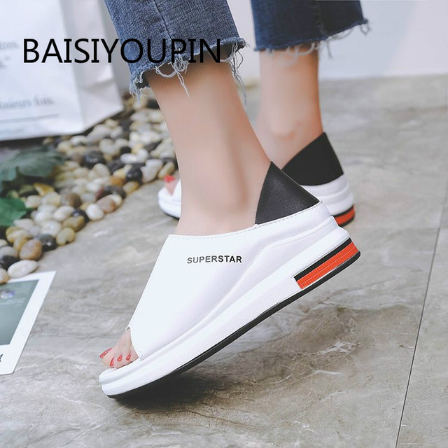 Plus Size Summer Casual Flat Women Sandals Sport Fashion Mixed Colors Slip-On PU Leather Non-slip Platform Beach Women Shoes