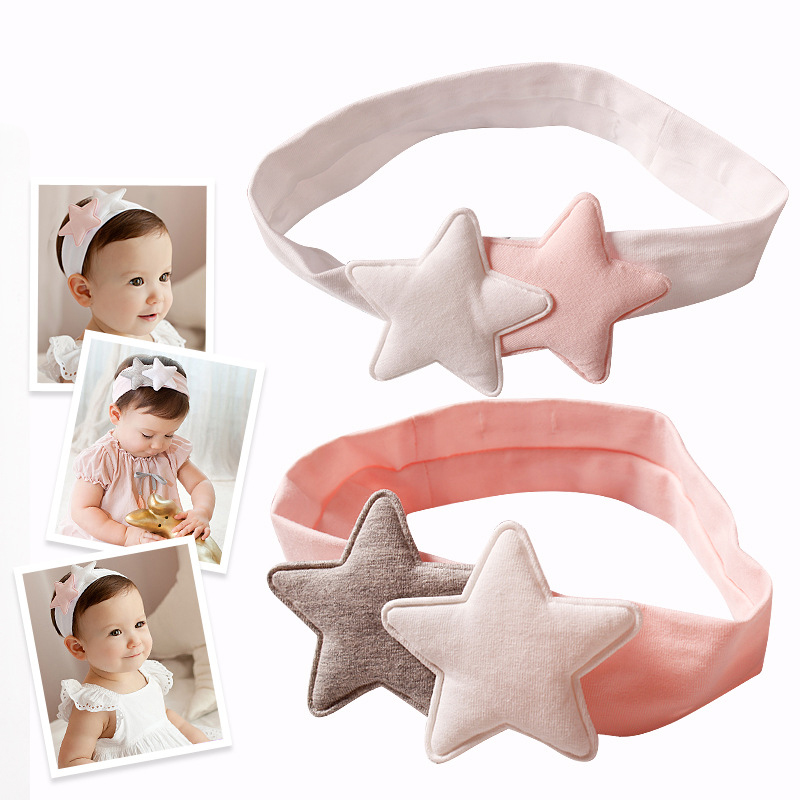 Newly Design Girls Two Star Headbands Newborn Infant Hair Accessories Kids Headwear Baby Headdress Children Elastic Hair Bands newborn photography props child headband baby hair accessory baby hair accessory female child hair bands infant accessories