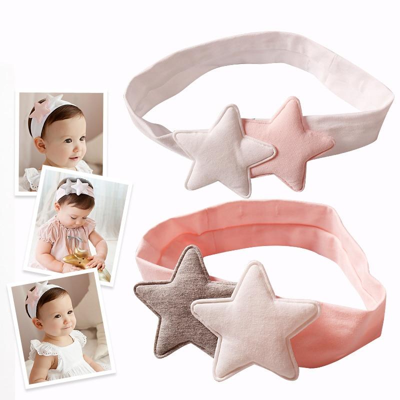 Newly Design Girls Two Star Headbands Newborn Infant Hair Accessories Kids Headwear Baby Headdress Children Elastic Hair Bands