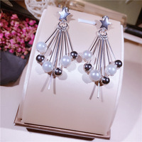 S925 pure silver pearl five pointed star tassel ear stud multi element versatile pearl earring ornaments female