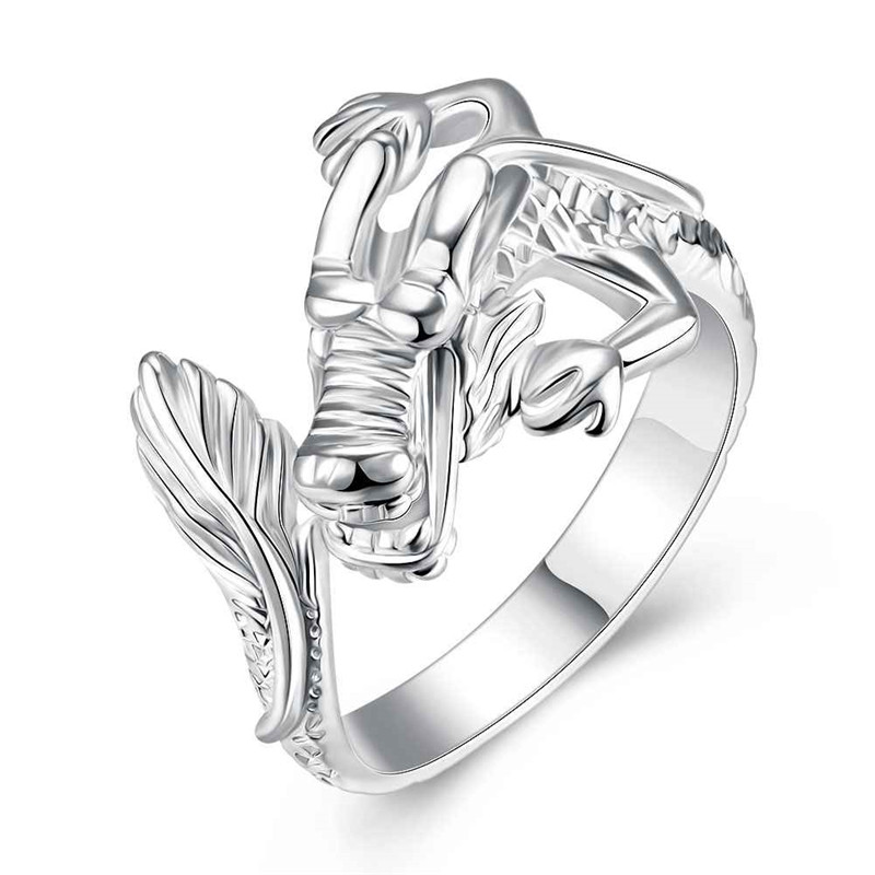 Vintage Style Silver Color Rings 925 White Dragon Finger Ring Men Fashion Jewelry Wholesale Free Shipping