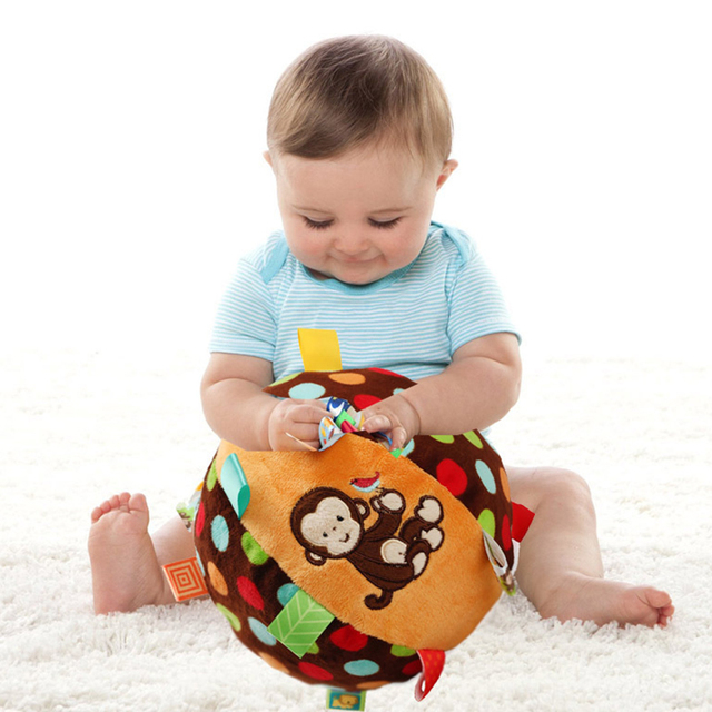 Baby Fun Pumpy Ball Cute Plush Soft Cloth Hand Rattles Bell Training Grasping Ability Toy For Baby Boys Girls Ring Toys