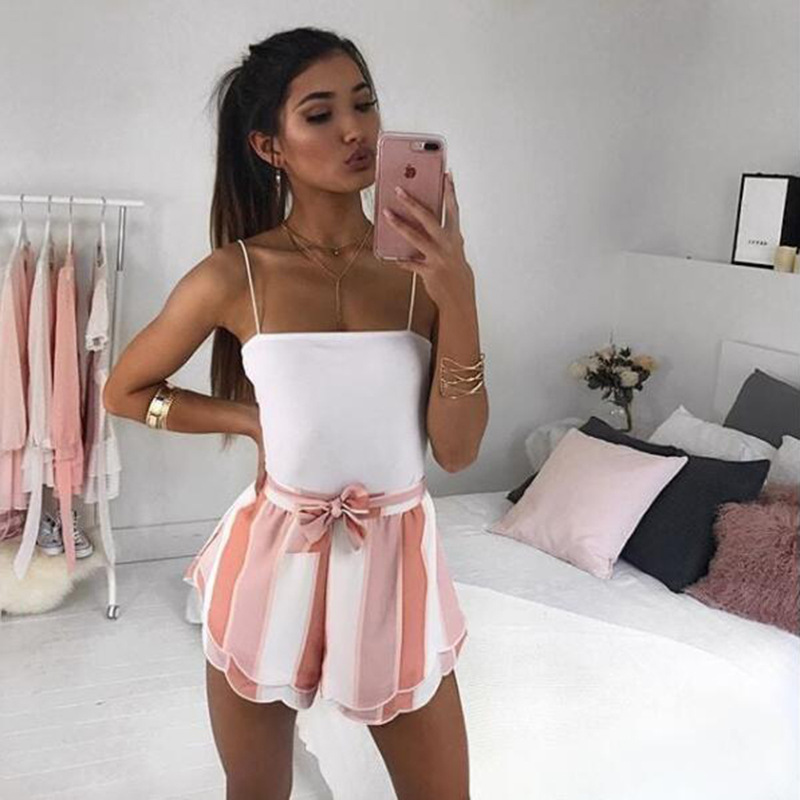 Chiffon Women Shorts Tie Bandage Bow 2018 Summer Clothes Shorts Trousers Casual Striped Pint Cute CA145