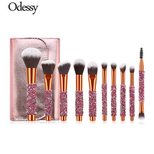 цена на 10pcs Diamond Makeup Brushes Glitter Make Up Brush Set Pro Powder Foundation Blush Eye Shadow Brush High Quality Cosmetic Tools