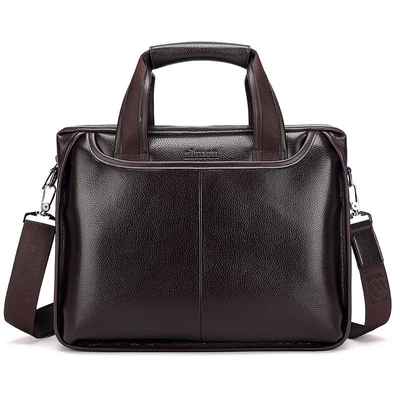 New Luxury Leather Business Men's Briefcase Male Fashion Shoulder Bag Men Messenger Bag Boy Casual Tote Computer Bag 14 Inch