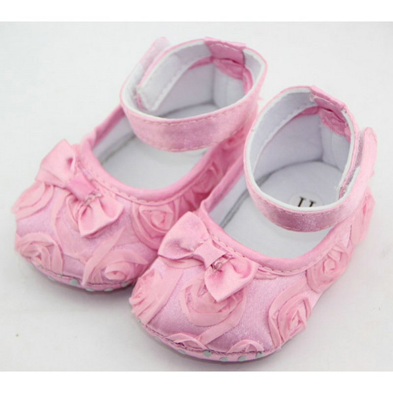 2016 Baby Kids Toddler Infant Rose Flowers Bowknot Baby Girl Soft Warm Princess Shoes Ca ...