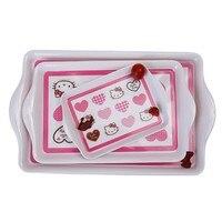 3/pce High Quality Baby Kids Children Safe Feeding Tableware Cartoon Melamine Dishes Plate Food tray