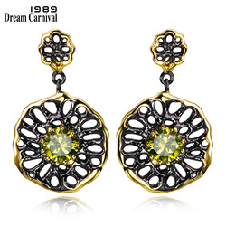 DreamCarnival 1989 Ethnic Flower Jewel Earrings for Women Dangle Hollow Out Olivine Yellow Color CZ Pendientes Gothic Earing E20