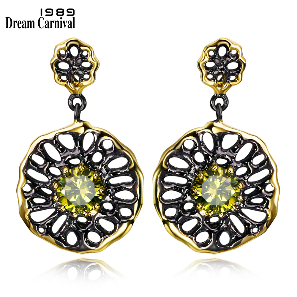 DreamCarnival 1989 Etnisk blomst juvel øredobber for kvinner Dangle Hollow Out Olivine Yellow Farge CZ Pendientes Gothic Earing E20