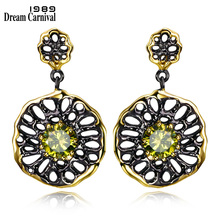 DC1989 Free shipping New Ethnic Flower design 18K Gold black Plated Cubic Zirconia Brass Lead free Drop earrings for women (E20)