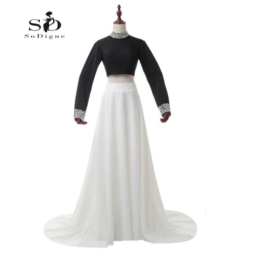 ᐂКристаллы Выпускные платья Черный и белый вечернее платье одежда с ... e88119d180b