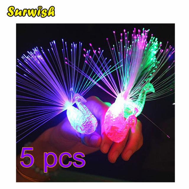 5Pcs Peacock Finger Light Colorful LED
