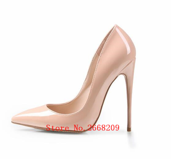 De Pompes Noir Chaussures Cuir 12 Talons Pointu as Mariage Nude Partie 10 Sexy Dames Haute Stiletto En Glissent Verni Pic Femme Pic Sur As Casual Cm Bout 0qw06