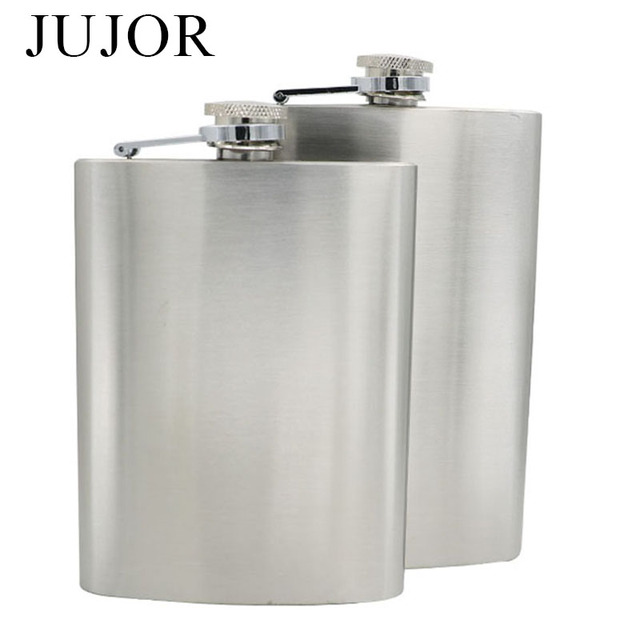 JUJOR Hot Sale Grade 304 Stainless Steel Hip Flask 7/8 OZ travel Silver Whiskey Alcohol Liquor Bottle Male Bottles and Funnel