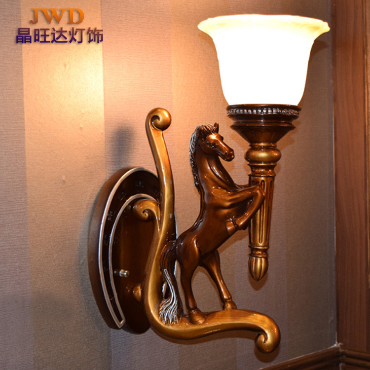 TUDA 30X45cm Free Shipping Vintage European Style Wall Lamp Creative Horse Shaped Resin Wall Lamp Bar Restaurant Decor Wall Lamp european creative sheep goat side table nordic style log home furnishing decoration hotel restaurant bar decor free shipping
