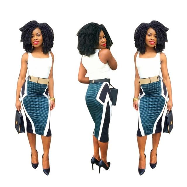 Europa Mulheres De Alta elasticidade Clássico Azul Branco Xadrez Cintura Alta Saia Lápis 2016 Nova Bodycon auto retrato Roupas Promoção