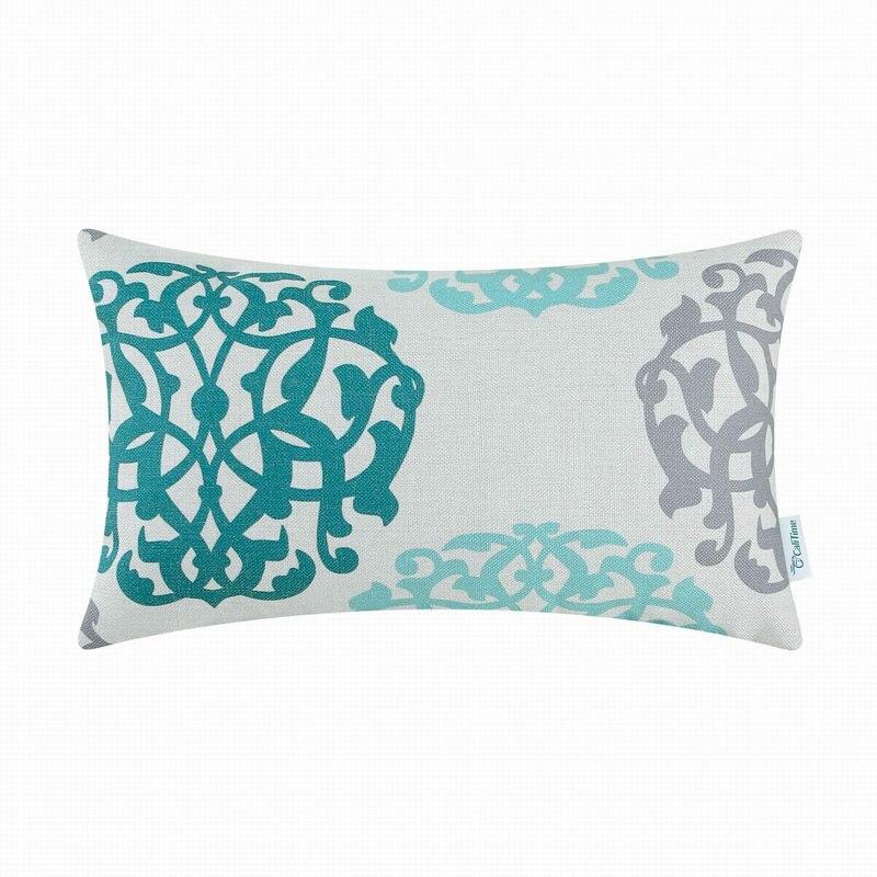 Calitime الوسائد الزخرفية قذيفة سيارة أريكة وسادة تغطي المنزل الزهور هندسية تيل رمادي 12