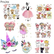 Prajna Cute Unicorn Animals Iron-On Transfers Ironing Stickers DIY Cartoon Kids Summer Style Hot Vinyl Patches For Clothing